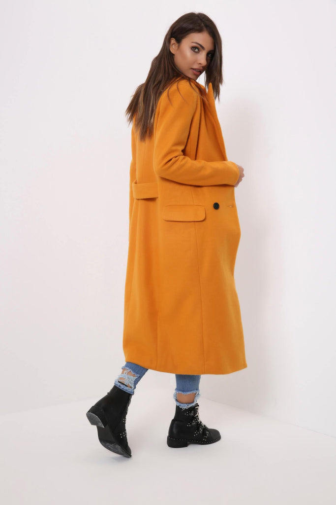 Mustard Double Breasted Duster Jacket