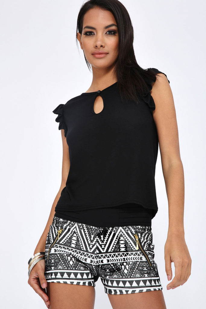 Black Shoulder Frill Vest Top