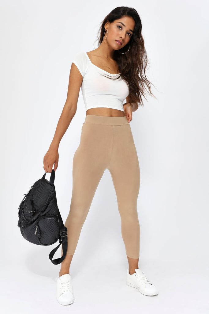 Cream Basic Bardot Crop Top