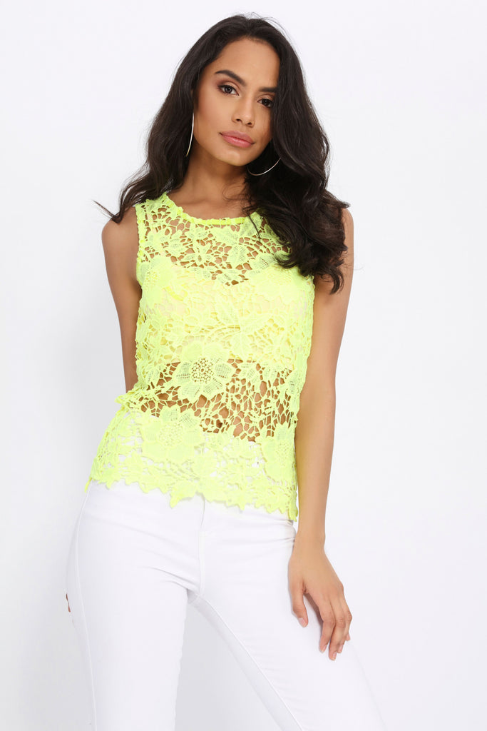 Lime Crochet Vest Top With Keyhole