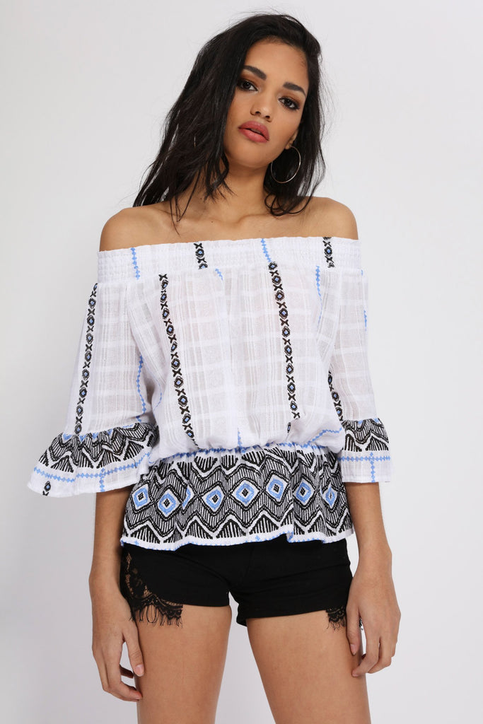 Blue Woven Loose Fit Bardot Top