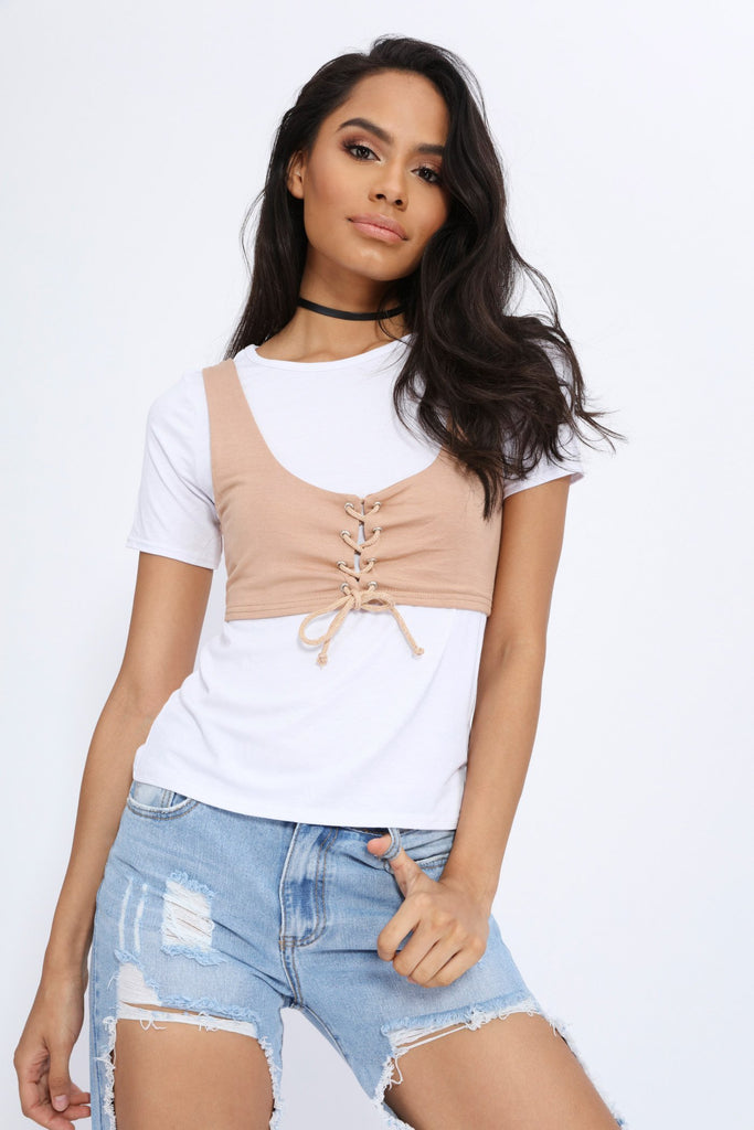 White/Camel T-Shirt With Corset Tie Up