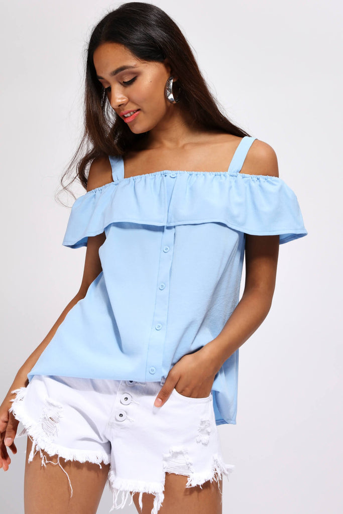 Skyblue Off The Shoulder Front Button Top