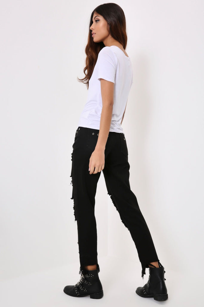 Black Eyelet Shredded Step Hem Jeans