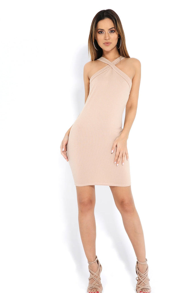 Sand Ribbed Cross Front Mini Dress