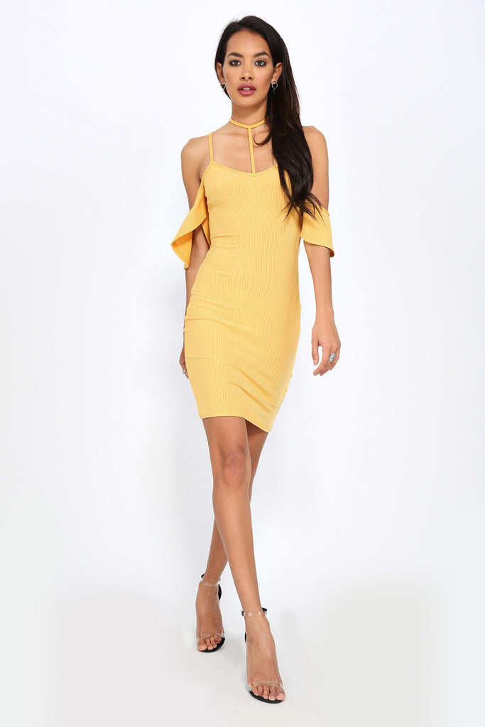 Honeydew Cold Shoulder Wrap Dress