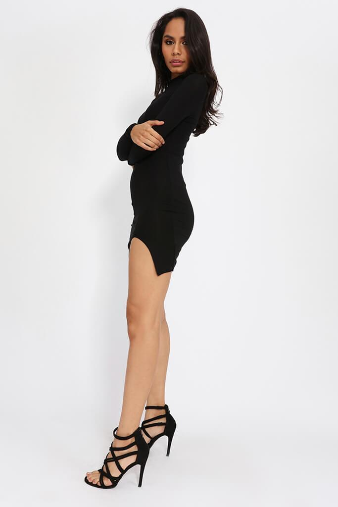 Black Jersey Long Sleeve Bodycon Dress