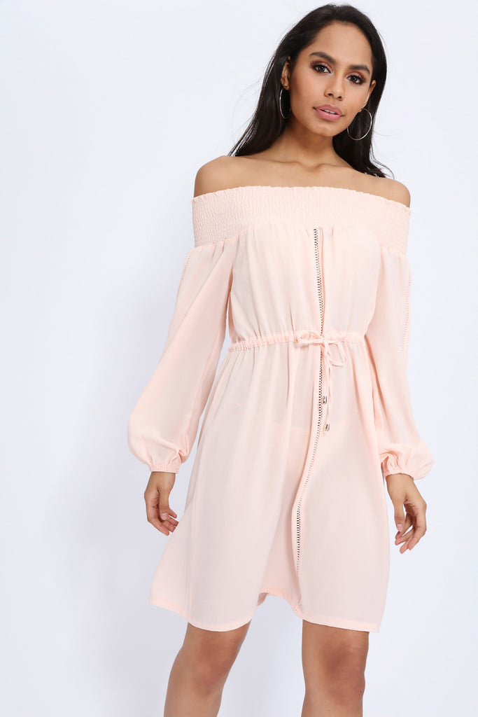 Nude Bardot Long Sleeve Dress