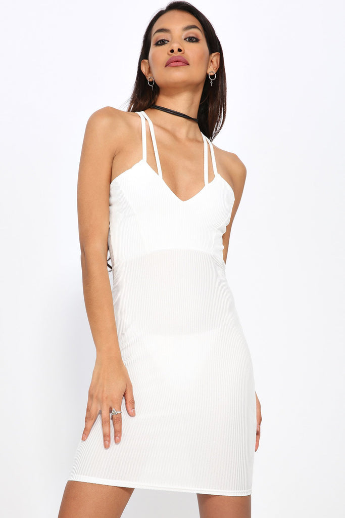 Cream Cross Over Strapped Neck Ribbed Bodycon Dress