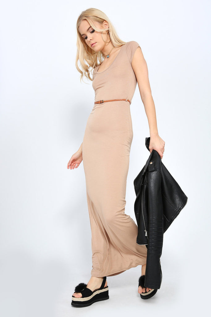 Taupe Cap Sleeve Belted Maxi Dress