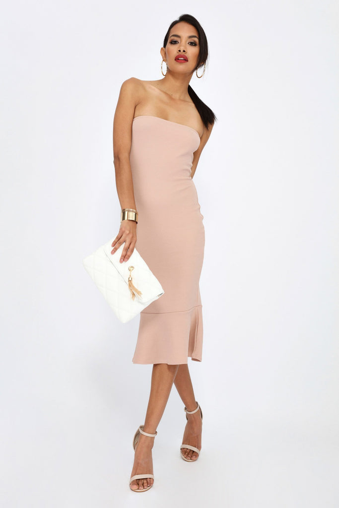 Stone Bandeau Midi Dress With Frill Hem