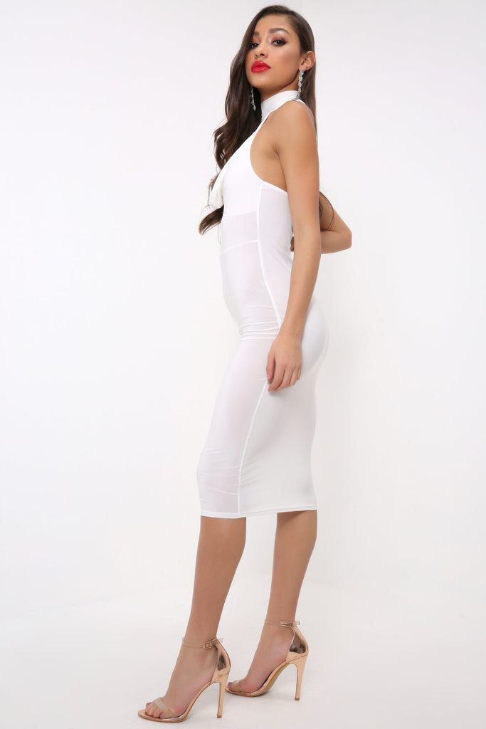 Cream Halterneck Choker Cross Back Midi Dress