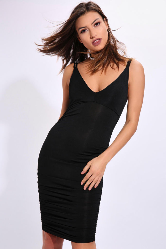 Black Double Strap Ruched Midi Dress