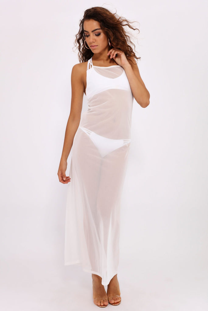 Cream Mesh Cross Back Maxi Dress