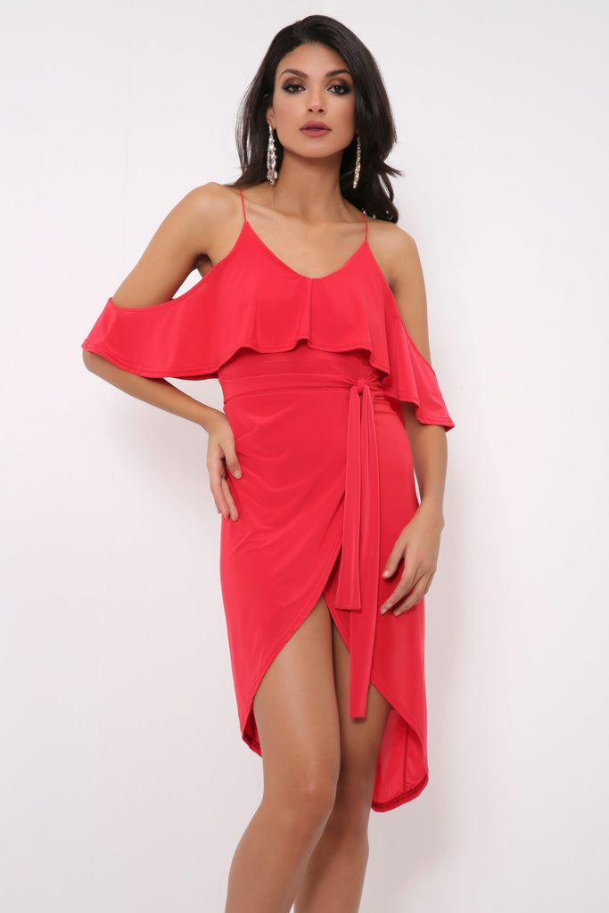 Red Red Cold Shoulder Wrap Dress