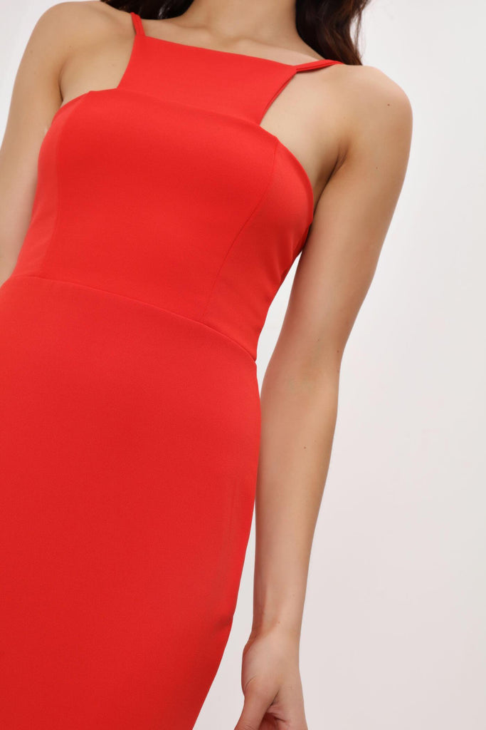 Red High Square Cut Neck Maxi Dress
