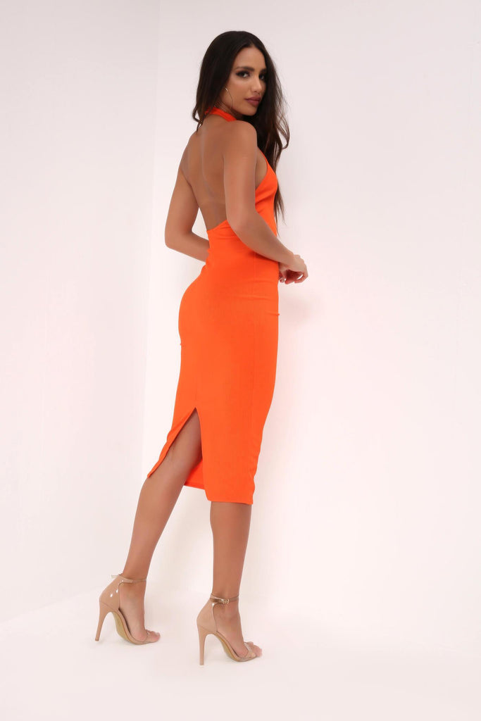 Orange High Neck Backless Midi Dress