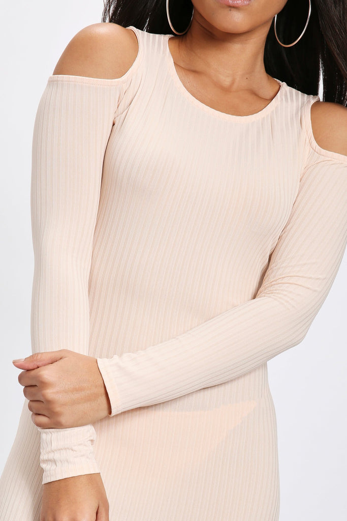 Nude Cold Shoulder Ribbed Long Sleeve Bodycon