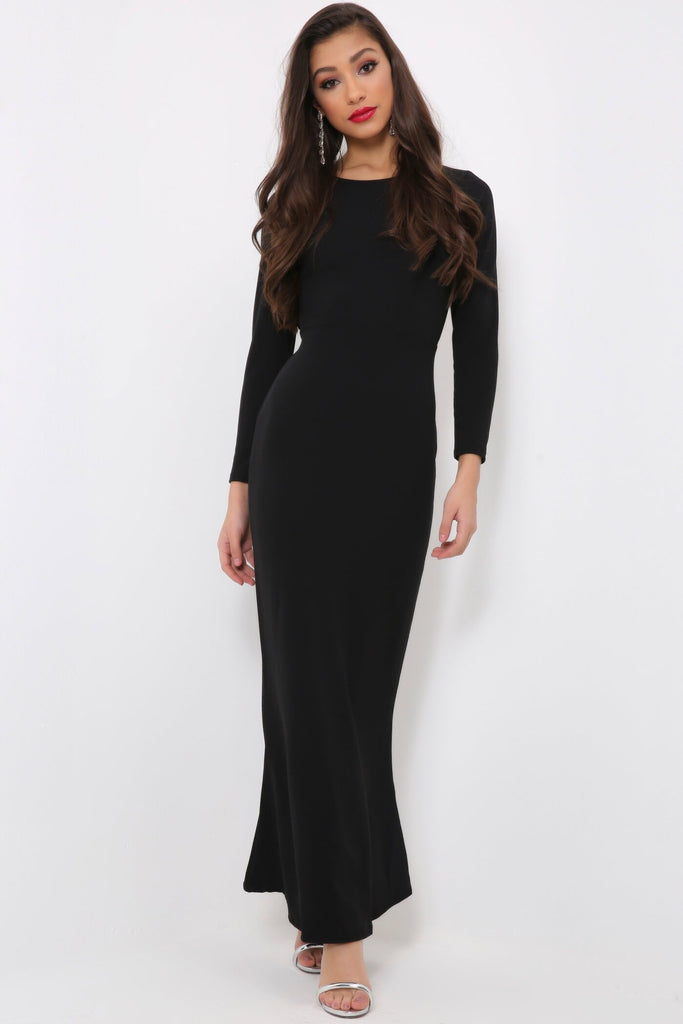 Black Backless Long Sleeve Maxi Dress