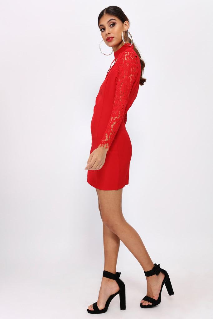 Red Choker Lace Sleeve Bodycon Dress