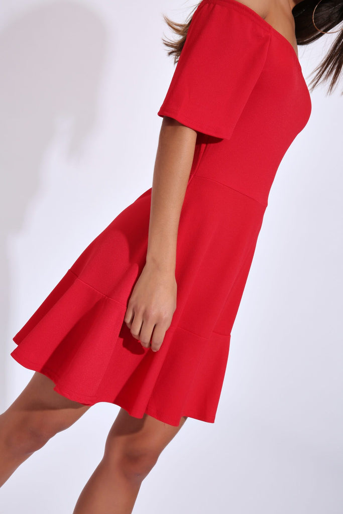 Red Bardot Skater Dress
