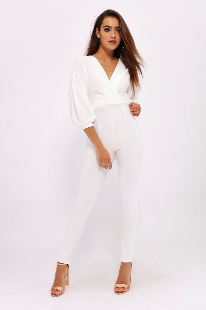 Cream Cream Balloon Sleeve Jumpsuit