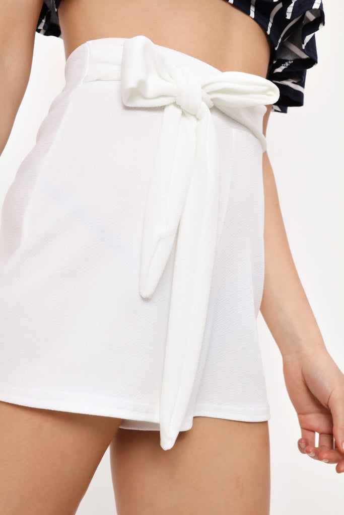 Cream High Waisted Tie Shorts