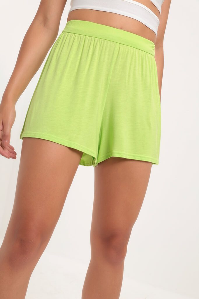 Lime High Waisted Loose Fit Shorts