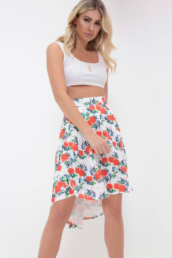 White/Red Floral Pleated Skirt