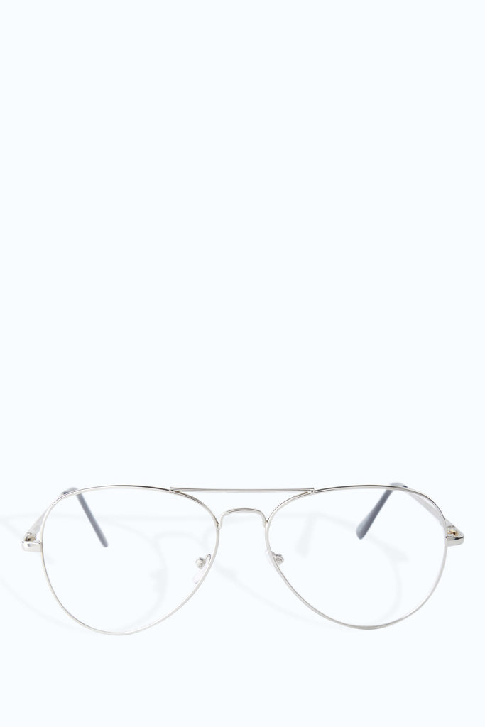 Silver Clear Aviator Glasses