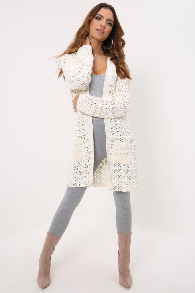 Cream Knitted Long Line Cardigan