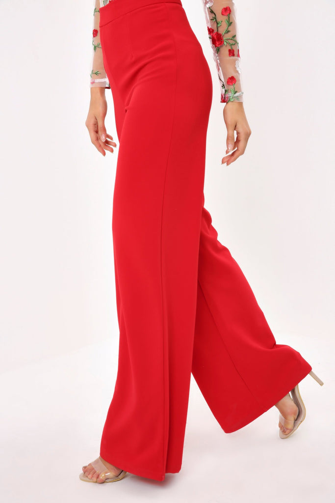 Red High Waisted Wide Leg Palazzo Trouser