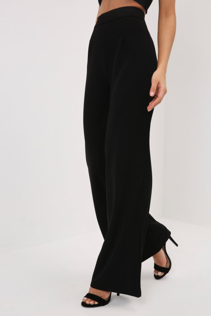 Black High Waisted Wide Leg Palazzo Trousers