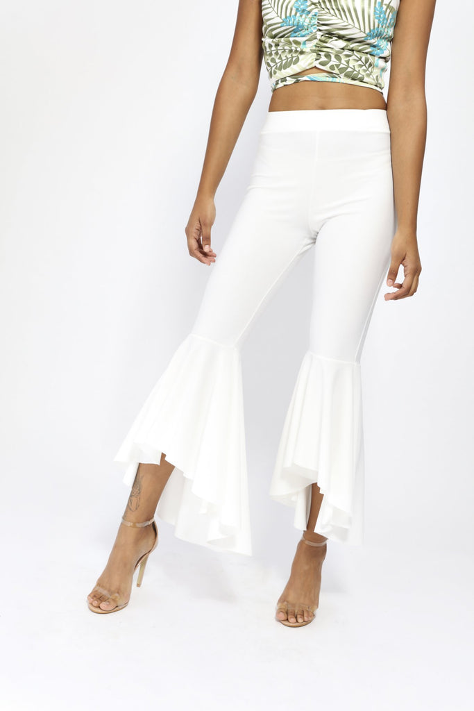 Cream Fit And Flare Trousers