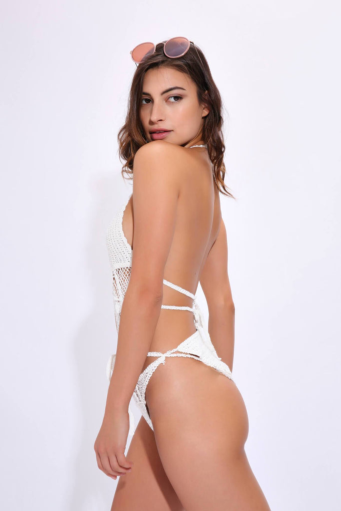 Cream Crochet Lace Up Front Swimsuit