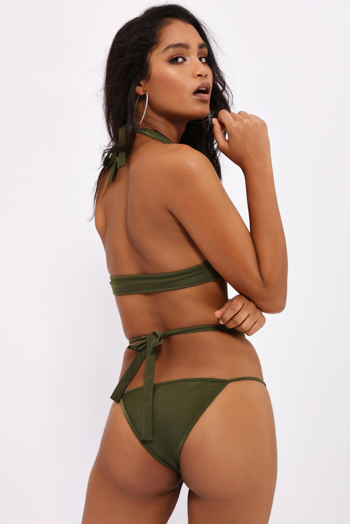 Khaki Diamante Trim Bikini Bottom