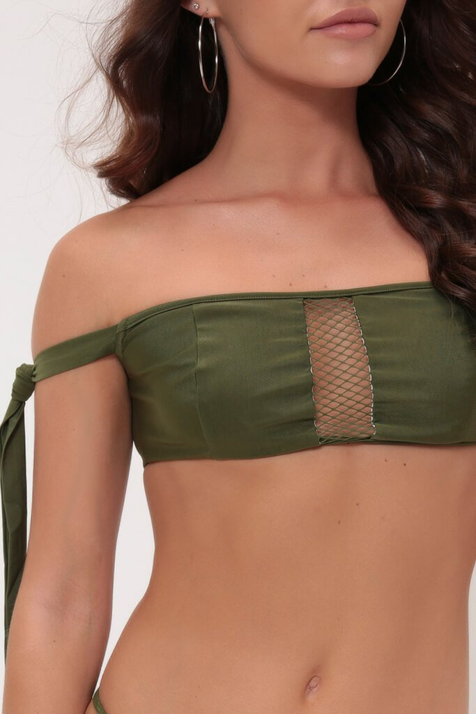 Khaki Bardot Mesh Bikini Top With Ties