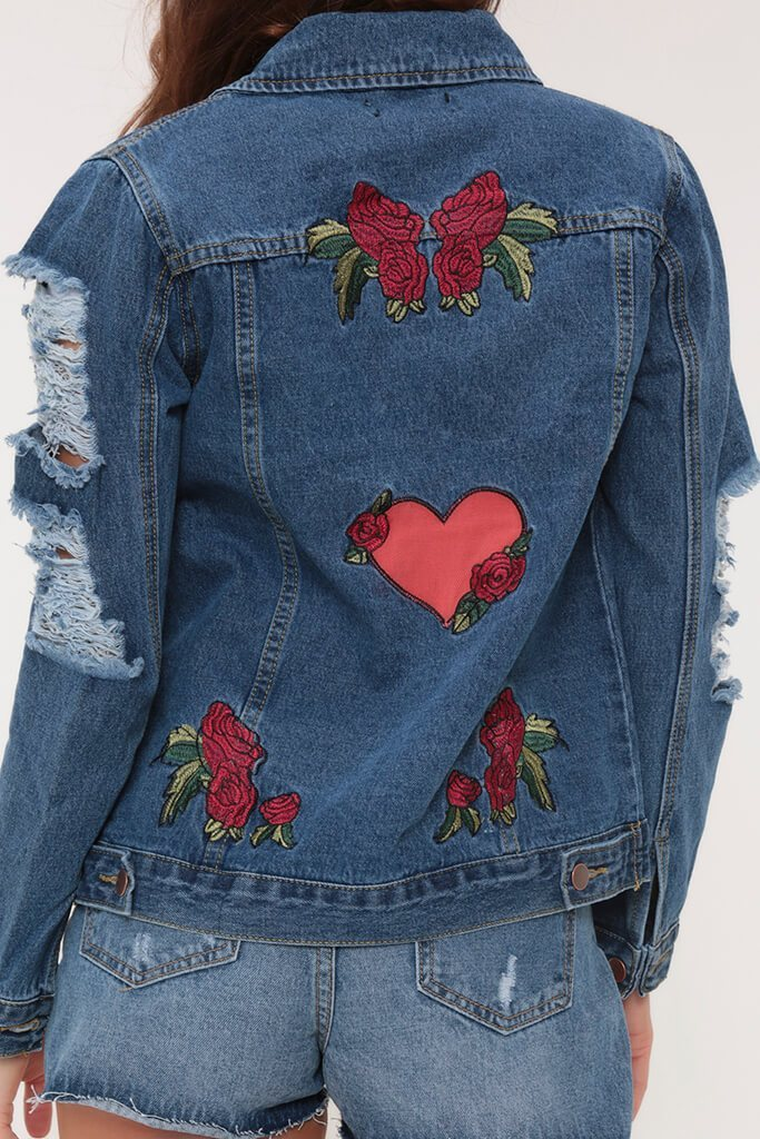 Dark Wash Floral Denim Jacket