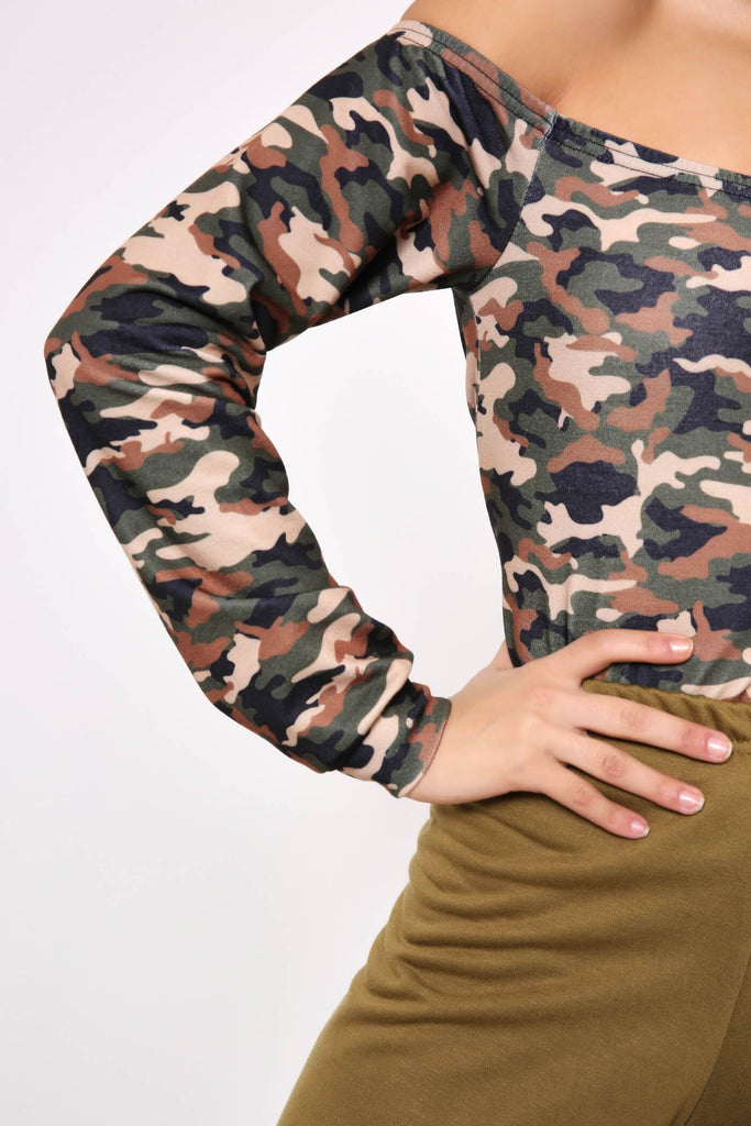 Green Camouflage Off The Shoulder Top