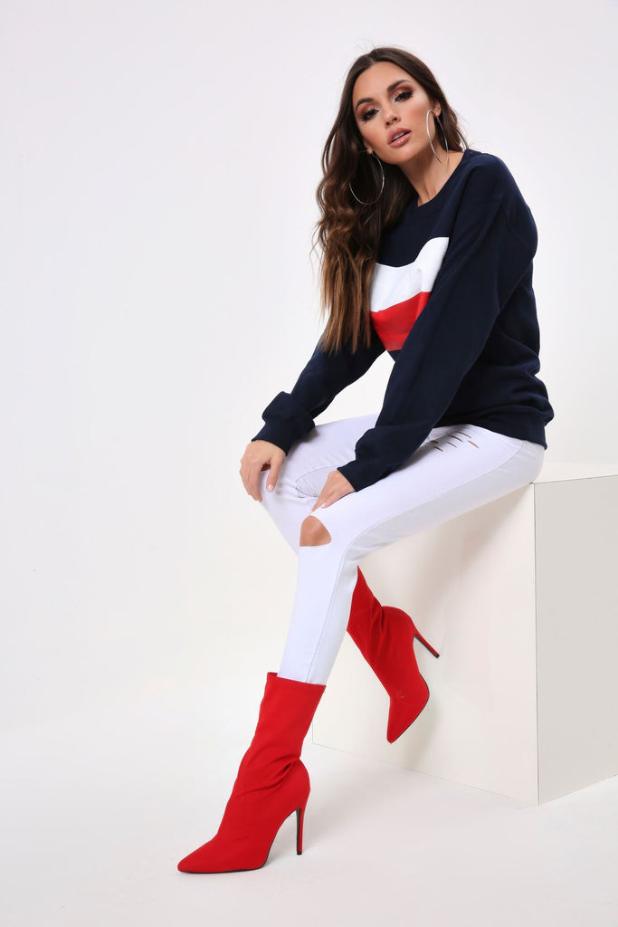 Navy Colourblock Sweatshirt