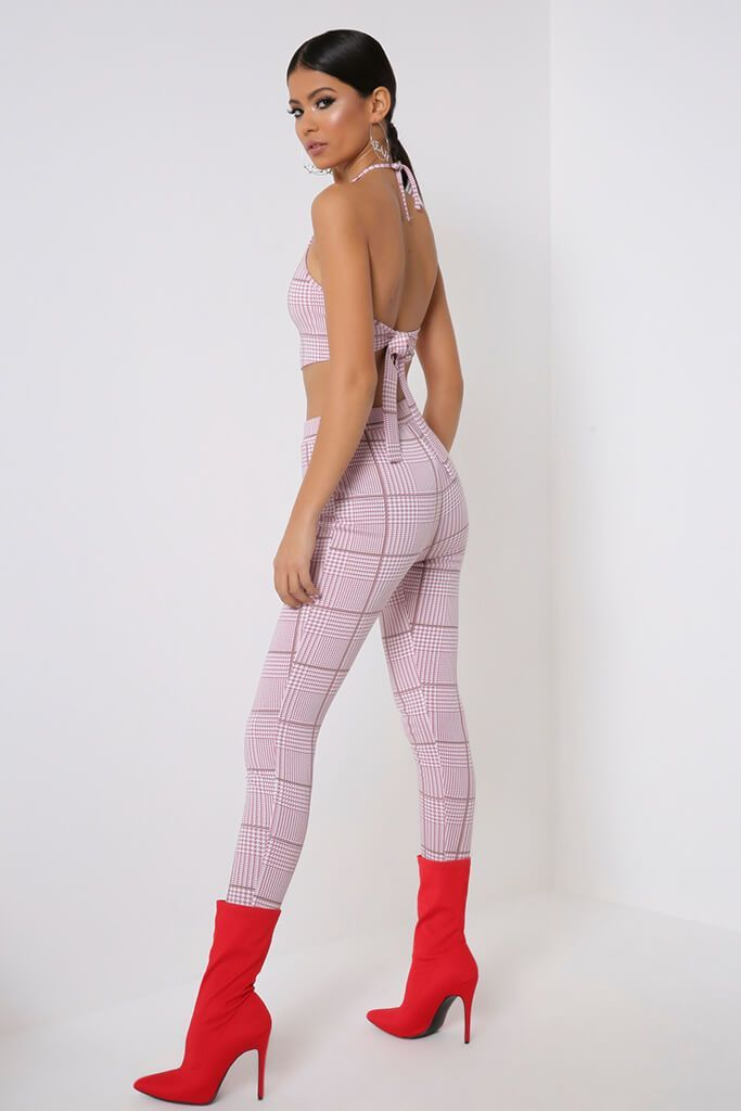 Pink Check Halterneck Crop Top