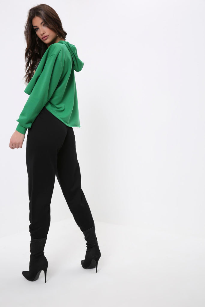 Green Foil Print Girl Boss Cropped Hoodie