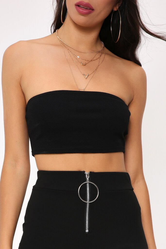 Black Bandeau Crop Top