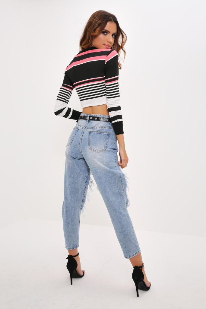Multi Colour Block Cropped Rugby Top