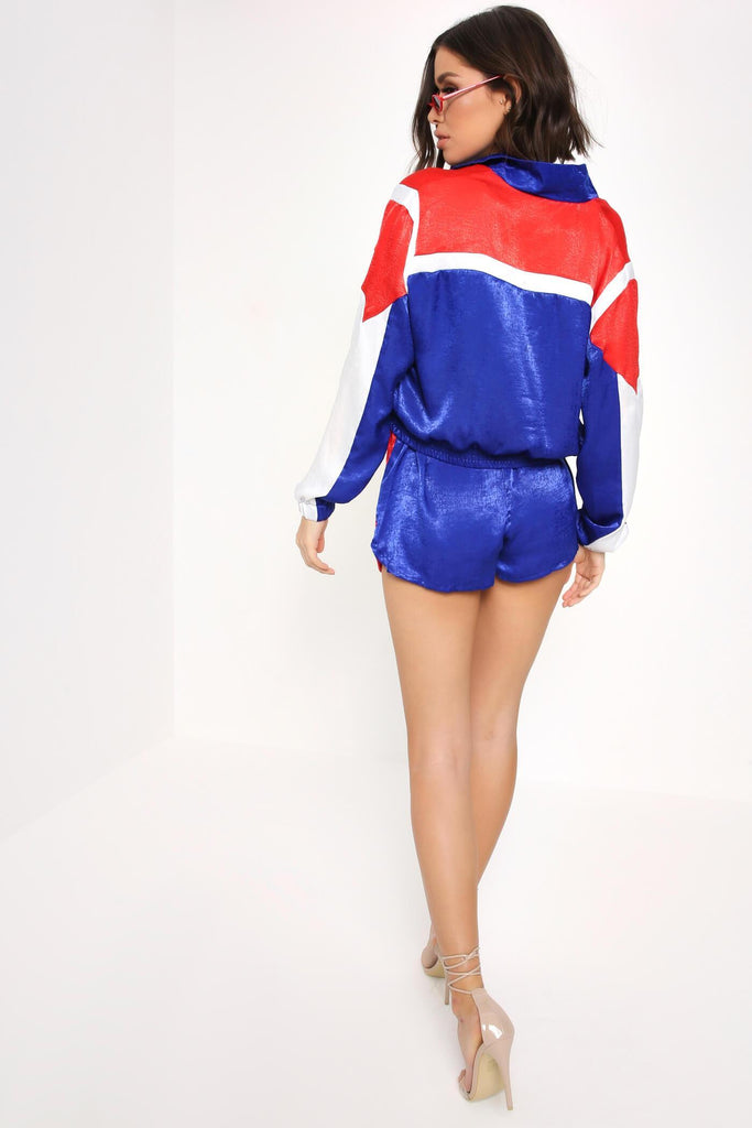 Cobalt / Red Crop Side Panel Shell Suit Jacket