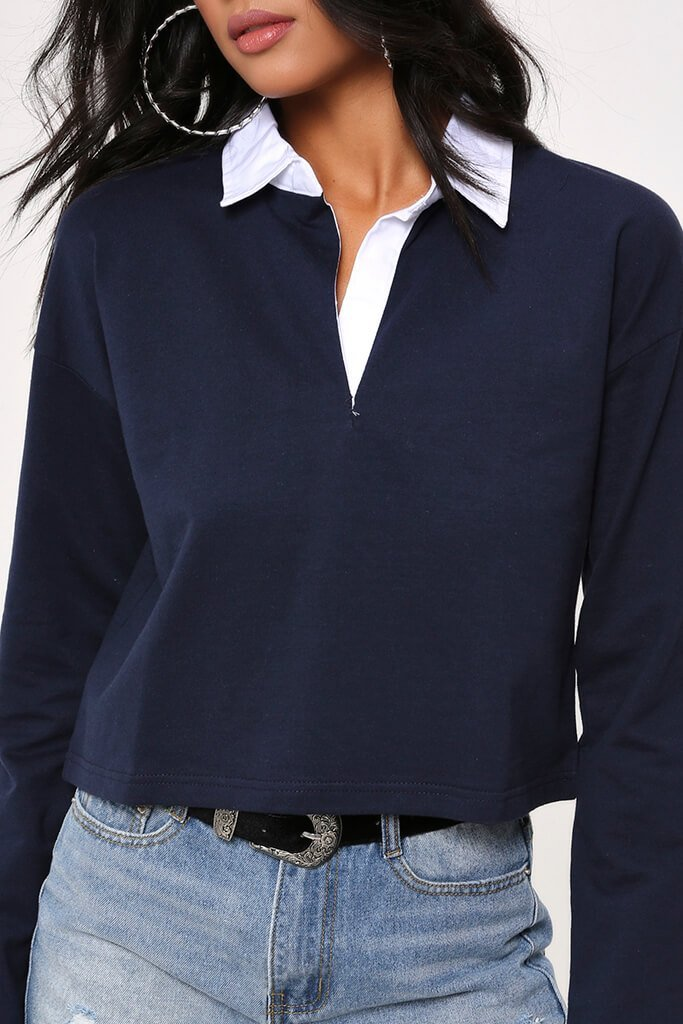 Navy Cropped Rugby Top