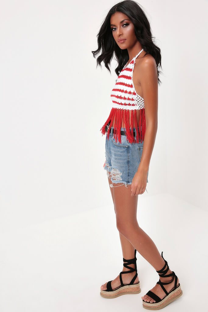 Red Crochet And Tassels Tie Back And Neck Top
