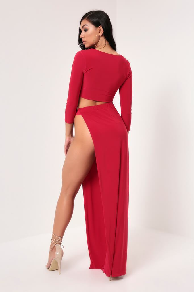 Red Hourglass Slinky Ring Detail Crop Top