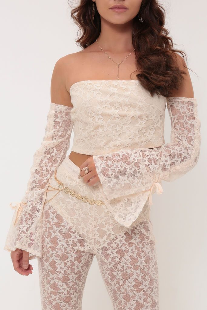 Nude Bardot Star Lace Top