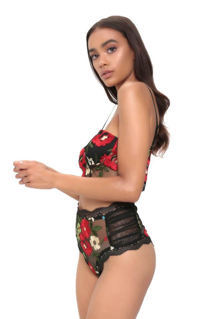 Black Embroidered Floral Bralet